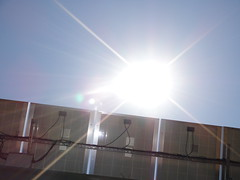Noon sun over solar panels