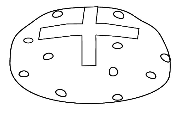 B&W hot cross bun clipart outline to color, 9cm wide