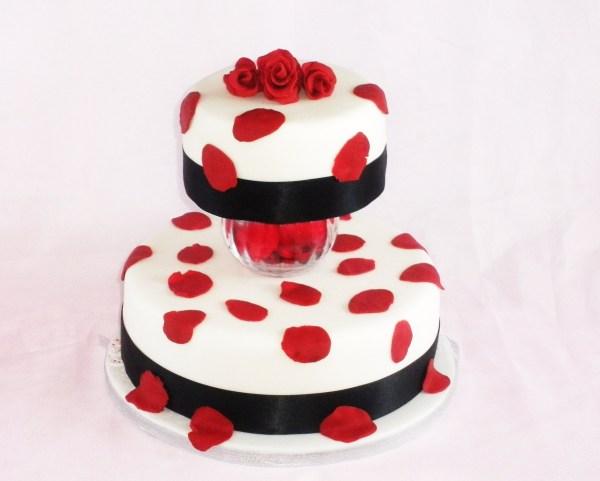 Ribbons And Rose Petals Wedding Cake - Sharing