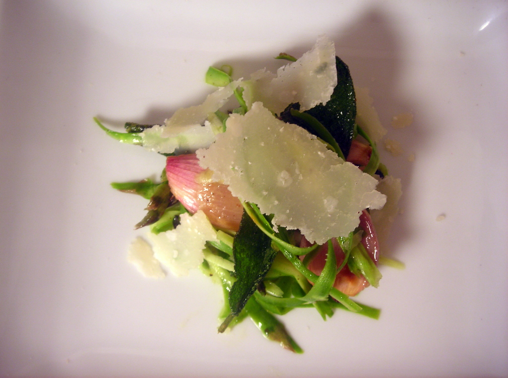 Shaved asparagus salad with roasted shallots, fried herbs and shaved Parmigiano-Reggiano cheese