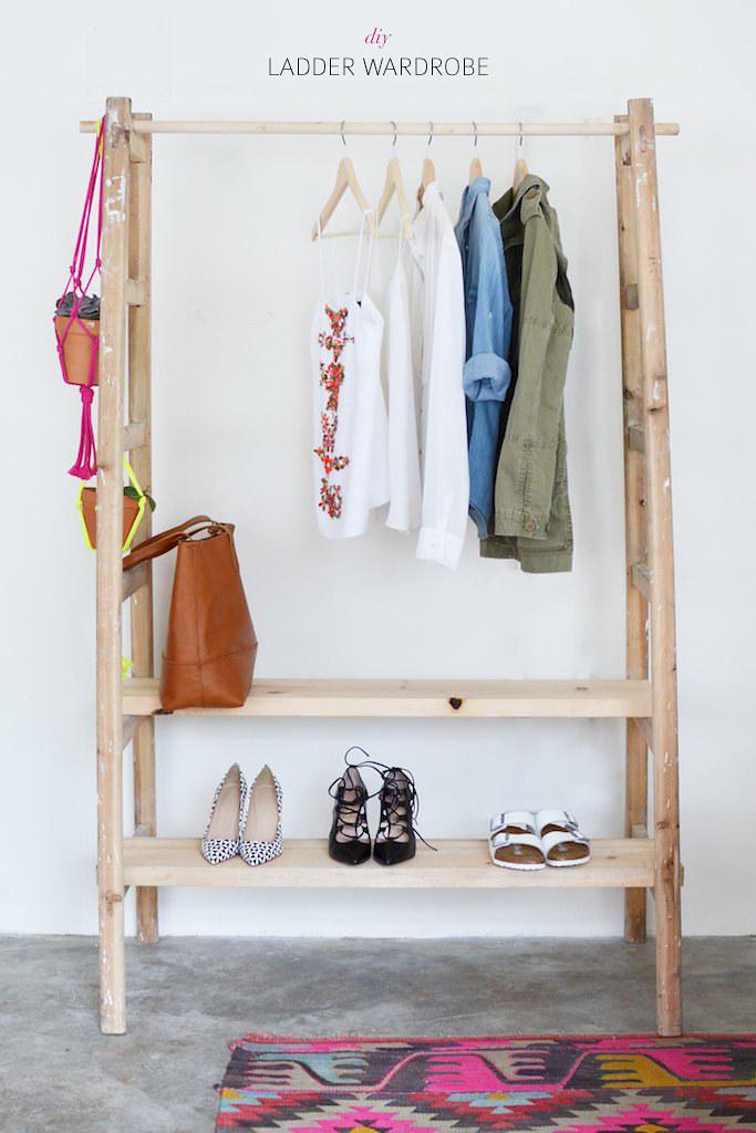 Make a wardrobe using a ladder www.apairandasparediy.com - Geneva Vanderzeil apairandasparediy.com