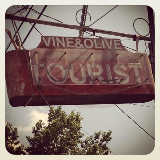 Vine & Olive Tourist Neon Sign, Demopolis AL
