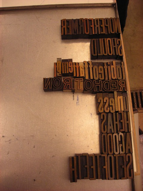 wood type, wisconsin, pamphlet-making