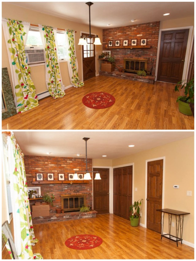The family room with wood burning fireplace is to the right.
