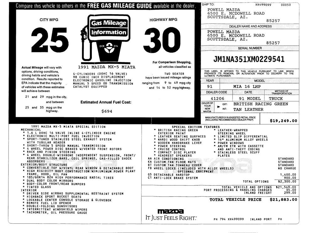 No Reserve: 1991 Mazda Miata Special Edition for sale on