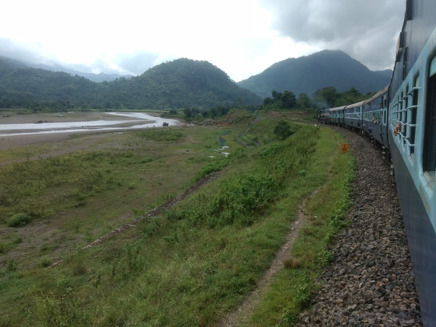 An engine pushing the train from behind, Harengajao - Assam