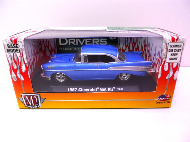 m2 machines drivers boxed 1957 chevy bel air blue