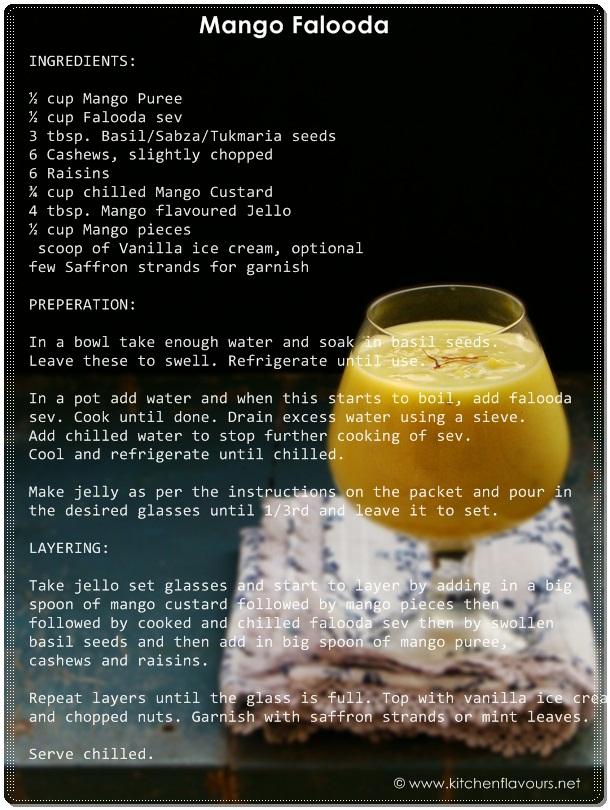 Mango Falooda/Faluda - Recipe Card