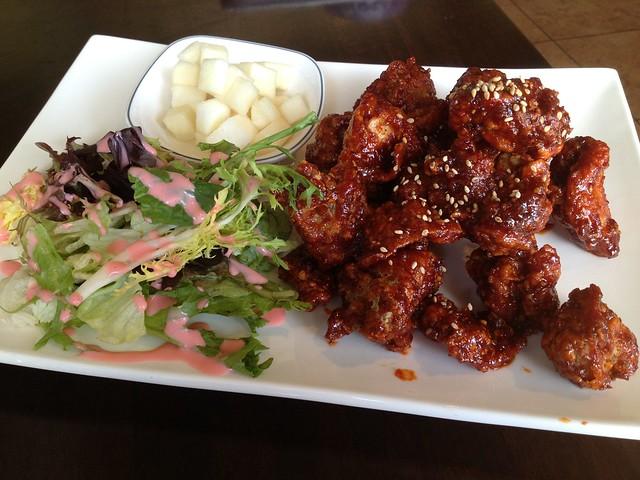 Spicy and sweet Korean fried chicken - K-pop