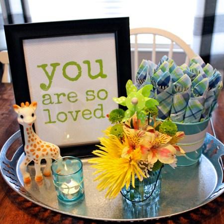 Sophie Giraffe baby shower centerpiece with decorations