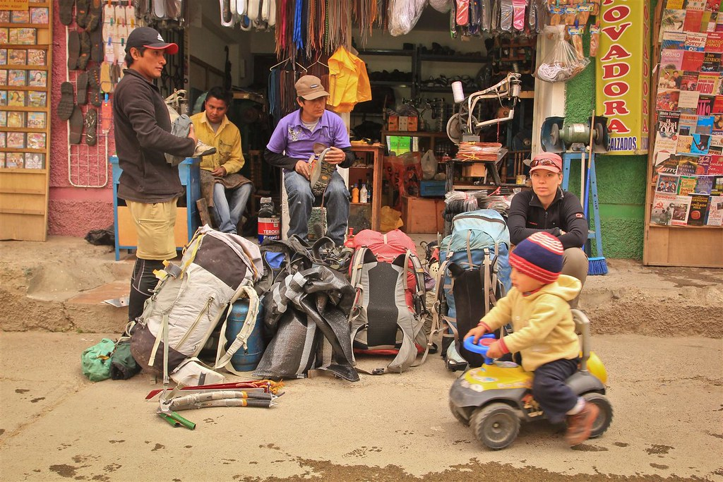 Gearing up at Jaime's shoe repair shop in Central Huaraz. Ancash, Peru.