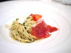 Lunch set menu: Cold pasta, tomato, Spanish ham. Gunther's, 36 Purvis Street