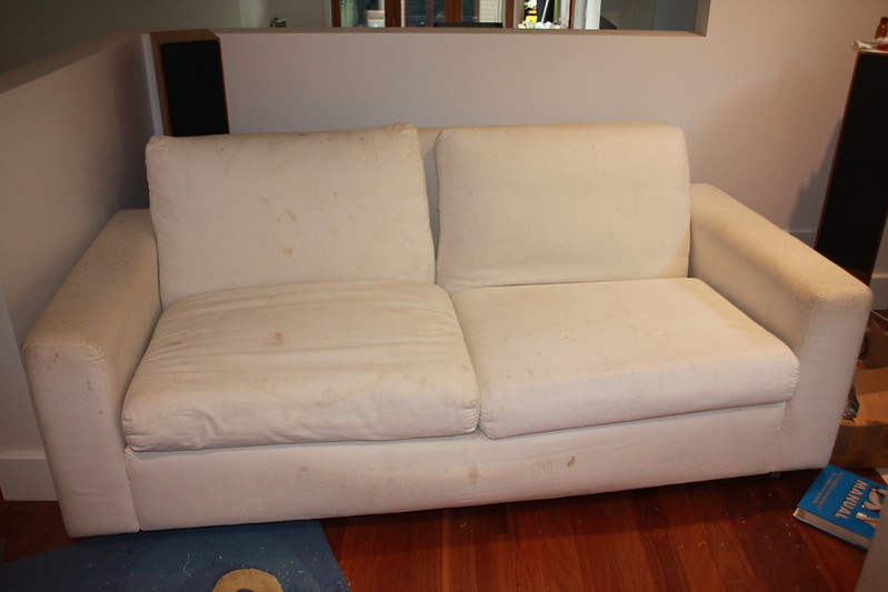 how much fabric to make a sofa cover take apart lazyboy recliner sew paint it loose covers here is one before was quite grubby i thought not very good idea buy white without washable