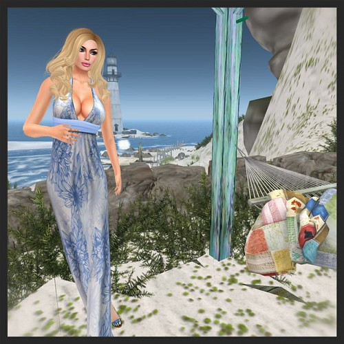 Blue Maxi Dress & pose 6:16:13 by Gloria Silverstone