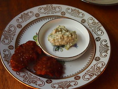 Snack: Deep fried bull's balls, tartare sauce
