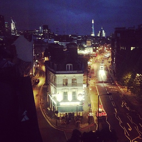 G'night from London! Just now got dark. View from my flat- that's St. Paul's in the distance.