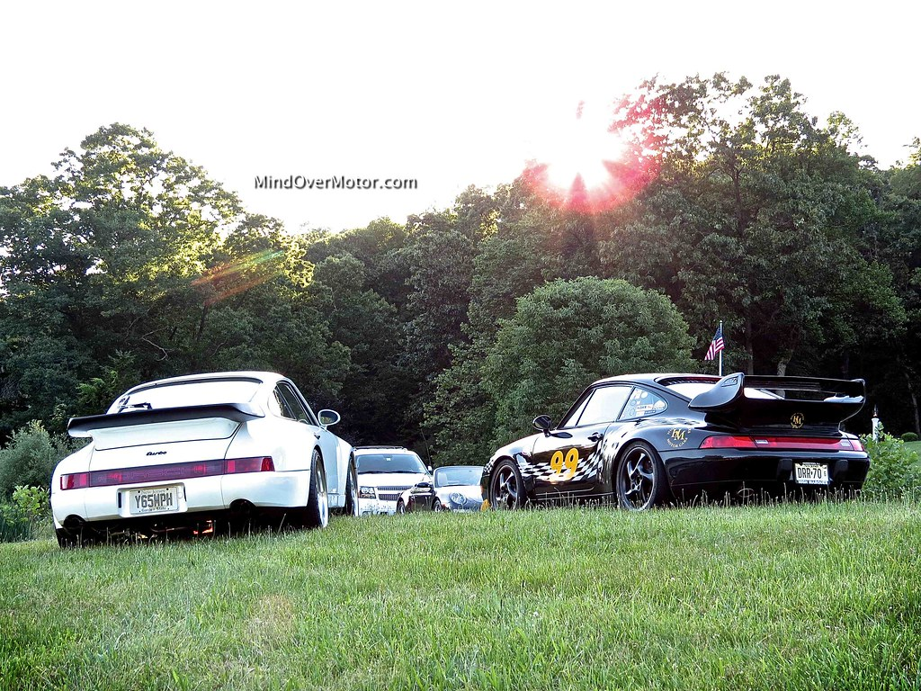 Porsche 964 Turbo and 993 Turbo at the PCA meet in Mendham, NJ