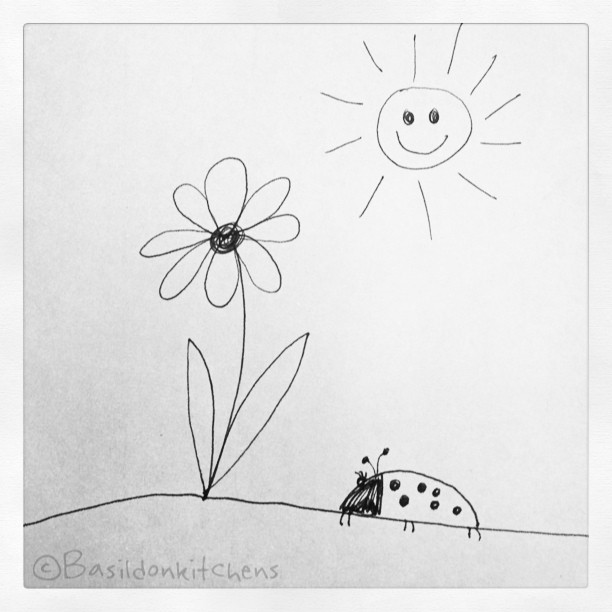 July 23 - I drew this {not my greatest talent} #fmsphotoaday #idrewthis #drawing #pen&ink #flower #bug #sun #simple