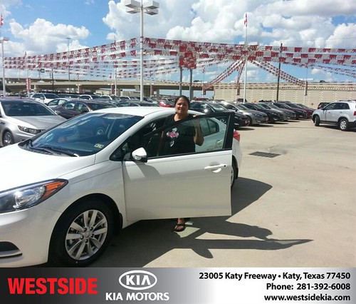 Thank you to Marina Guevara on your new 2014 Kia Forte from Rubel Chowdhury and everyone at Westside Kia! by Westside KIA
