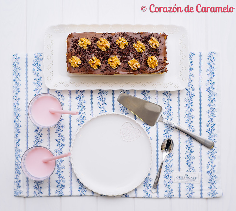 Tarta de natillas y chocolate sin horno
