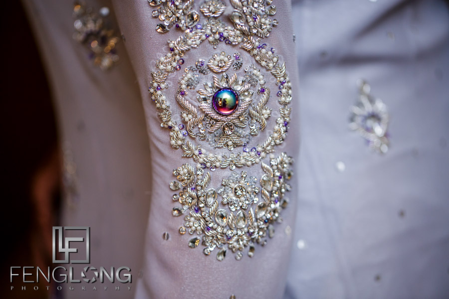 Details of Kanwal's dress and hands