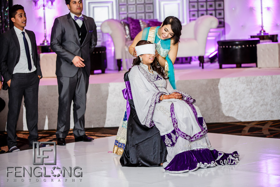 Playing wedding games at an Atlanta Indian wedding reception