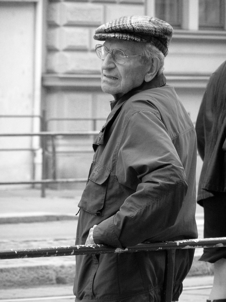 Man Waiting for a Tram B&W
