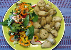 New Potatoes with Dill and Salad