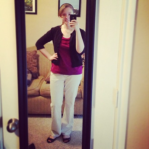 It looks like my face is melting away in this #ootd. Shirt and shoes: Target; Pants and cardigan: JCP (at least 10 years old)