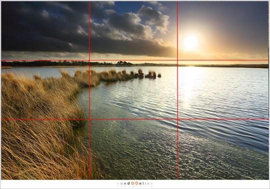 Een van de beelden over compositie uit mijn reader voor de workshops Natuurfotografie. De lijnen zijn volgens de Regel van Derden; een van de hulpmiddelen om een foto evenwichtig en prettig op te bouwen