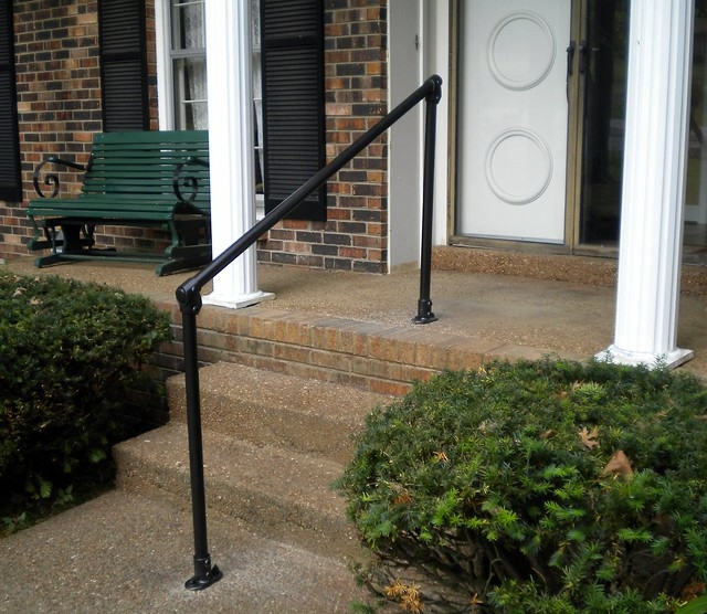 5 Diy Metal Stair Railing Examples Simplified Building   Pipe Handrails For Steps   Simple Pipe   Kee Klamp   Contemporary Wood   House   Stair Outdoor Decatur