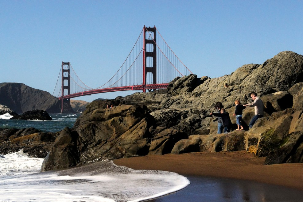 A view of San Francisco's Golden Gate bridge from Baker Beach in the Presidio on Saturday, May 18, 2013. Photo by Jessica Worthington / Xpress