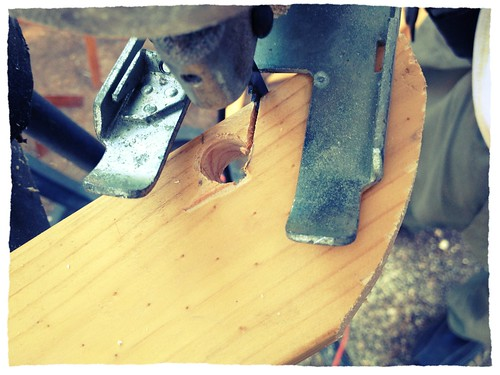 After drilling the end to make it round, we cut out the sides with a scrollsaw.