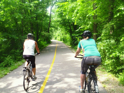 hannah and aunt on fayetteville bike path