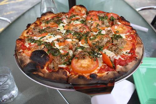 Sausage pesto pizza from Wild Tomato