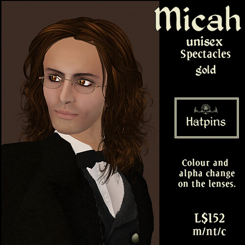 Hatpins - Micah Spectacles - Gold