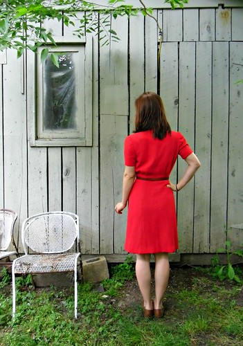 Red Wool Crepe 40s Dress