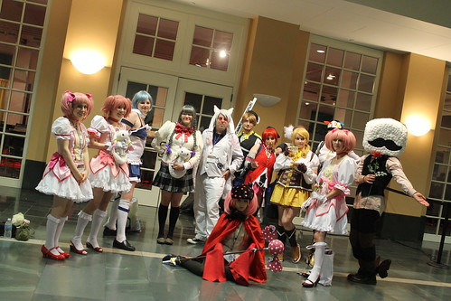 Lots of Madoka cosplayers