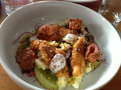 santa barbara uni, heirloom cucumbers, za'atar, fried cheese, hb egg