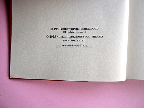 Christopher isherwood, Addio a Berlino. Adelphi 2013. Colophon (part.), 1