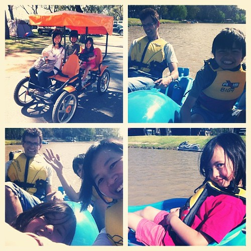 Family cycle & paddle boat at the Riverland.