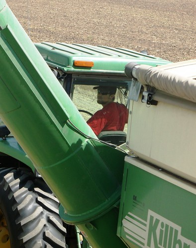 Kasey unloading the graincart