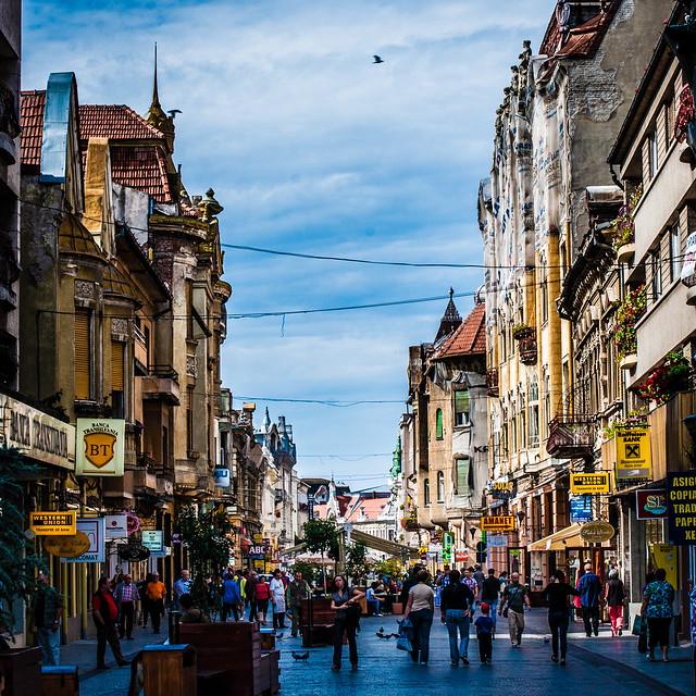 Looking South across Strada Republicii, Oradea, Romania
