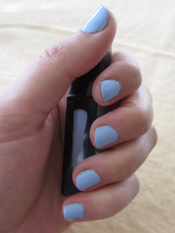 Mani with two coats of Julep Jessica polish, a light periwinkle blue.