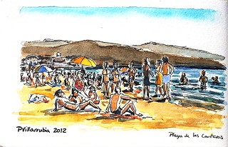 Playa de las Canteras. Watercolour.