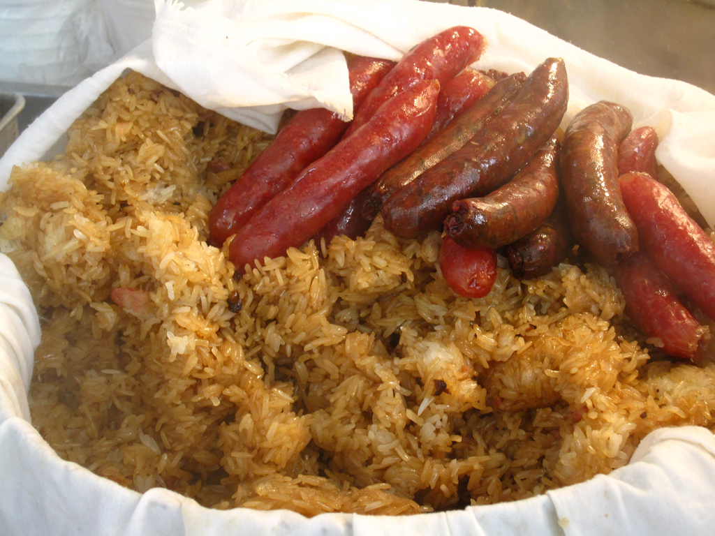 Glutinous rice and Chinese sausages