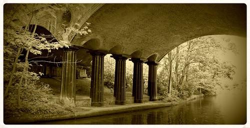 blow up bridge,Regents canal. sepia
