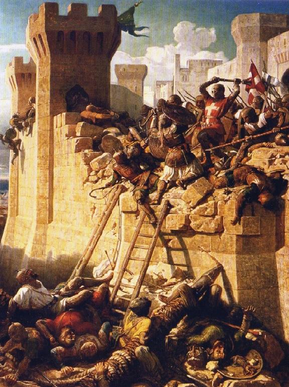 2. Caballeros de la Orden de San Juan defendiendo San Juan de Acre, en 1291. Obra de Dominique Papety. Hacia 1840