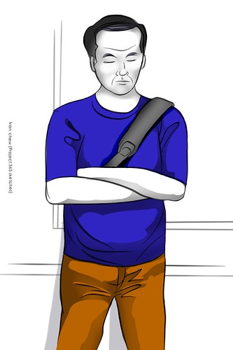 """Blue T-shirt Guy"" (#163: Project 365 Sketches)"