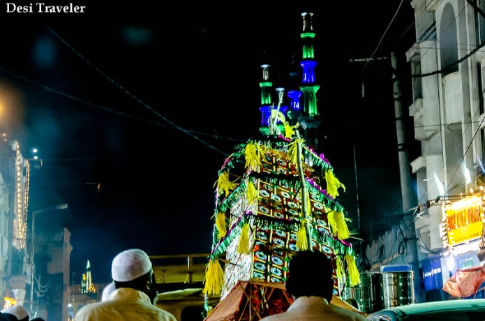 Bonalu crown glowing minaret Old Hyderbad charminar